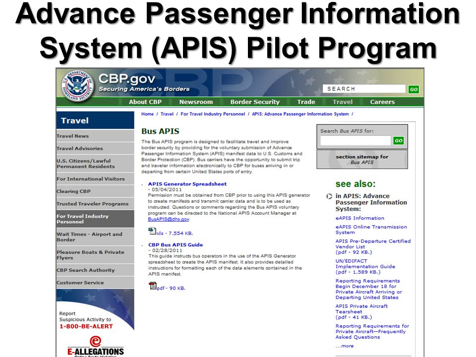 Advance Passenger Information System (APIS) Pilot Program