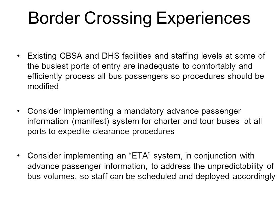 Border Crossing Experiences