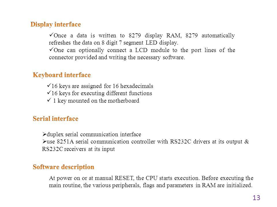 Display interface Keyboard interface Serial interface