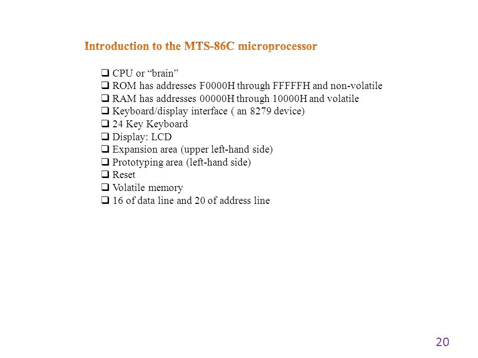 Introduction to the MTS-86C microprocessor