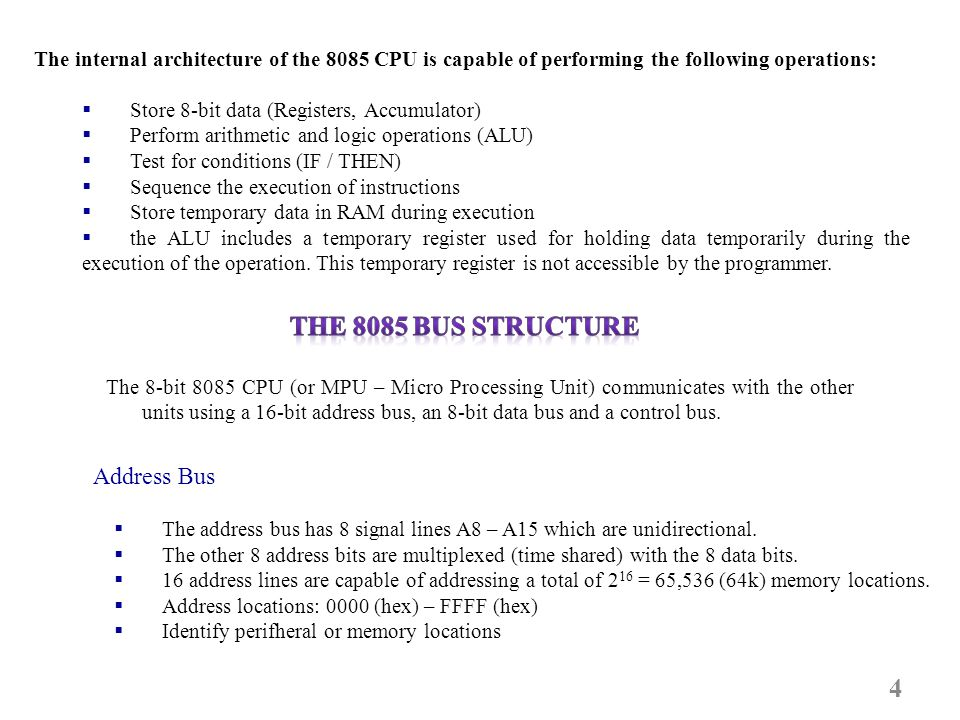 The 8085 Bus Structure Address Bus