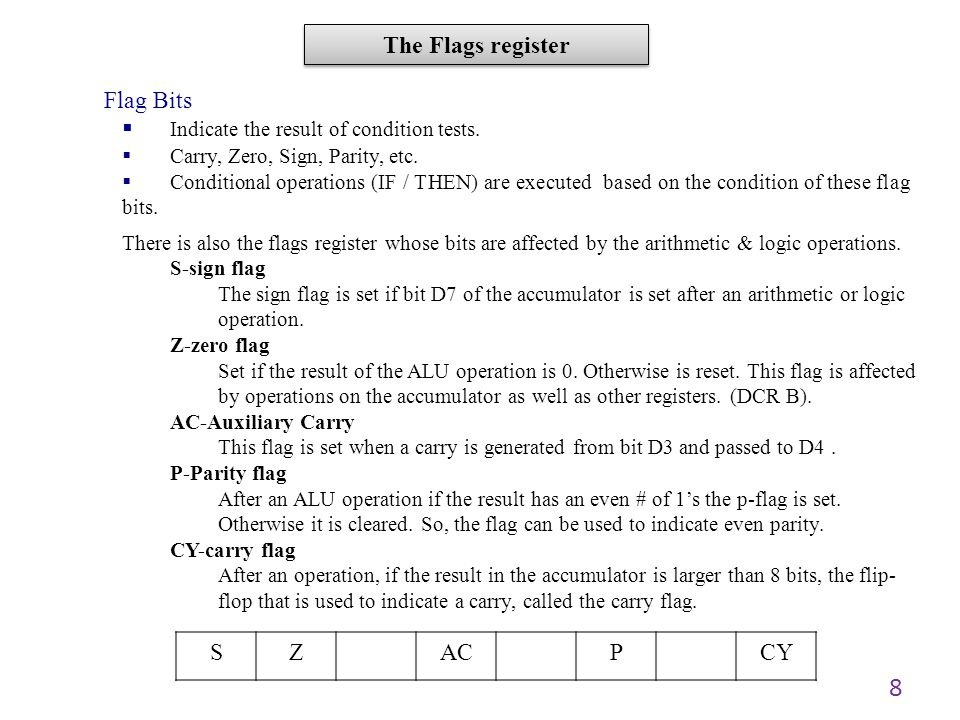 Indicate the result of condition tests.