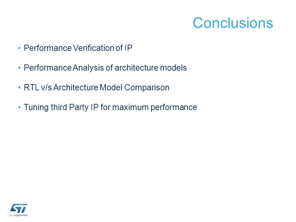Conclusions Performance Verification of IP