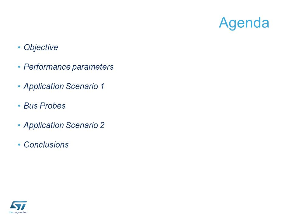 Agenda Objective Performance parameters Application Scenario 1
