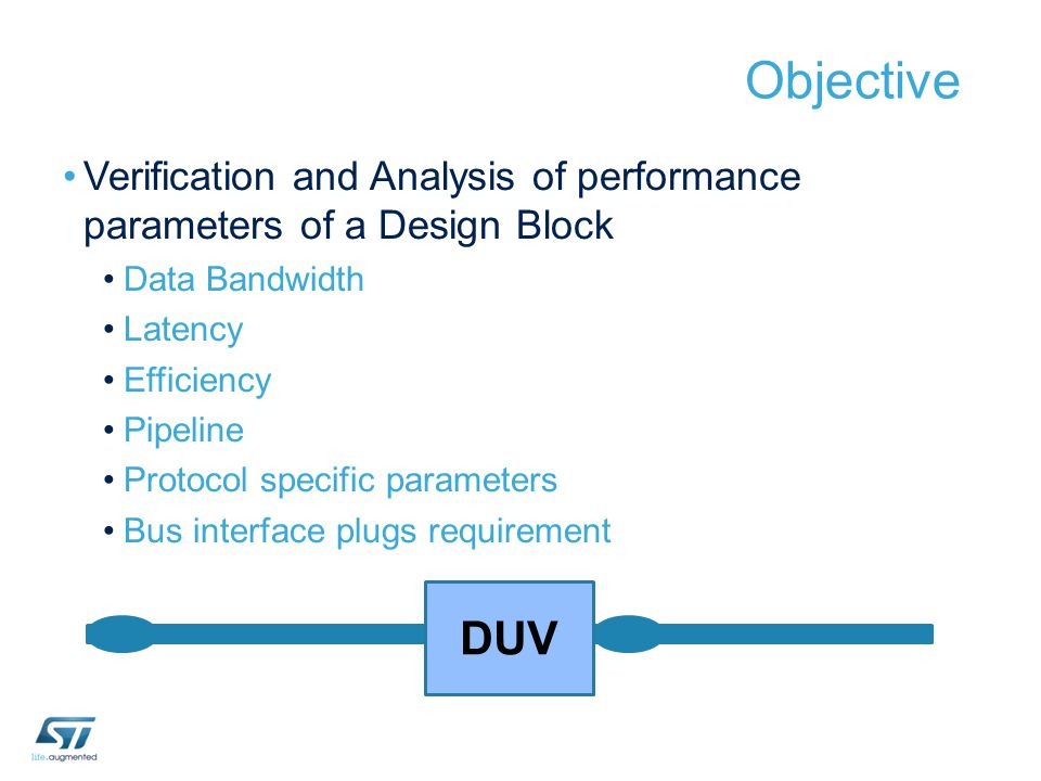 Objective Verification and Analysis of performance parameters of a Design Block. Data Bandwidth.