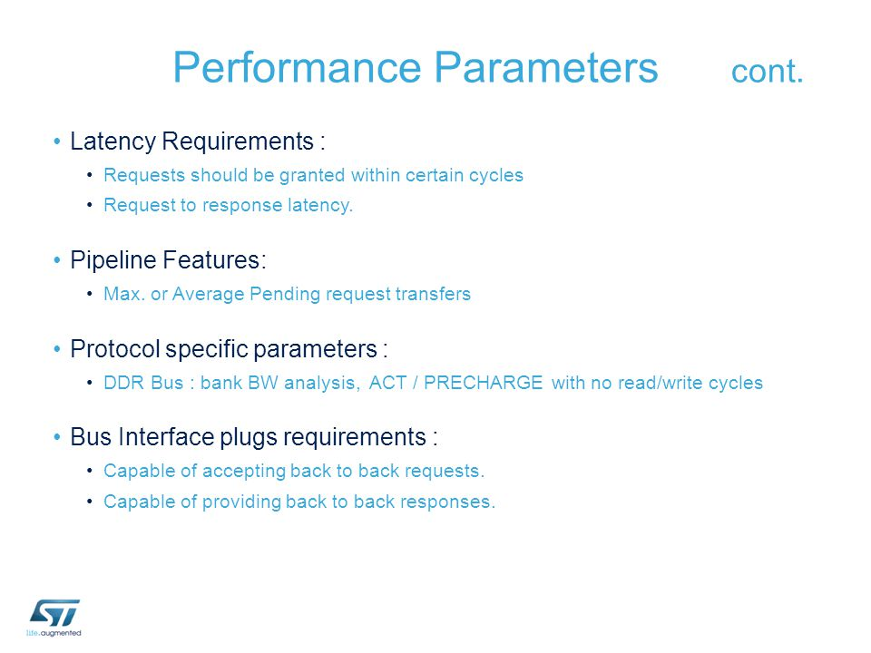 Performance Parameters cont.