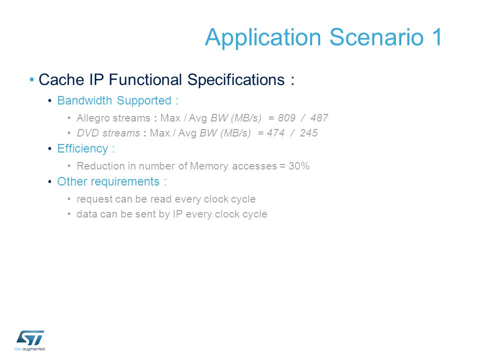 Application Scenario 1 Cache IP Functional Specifications :