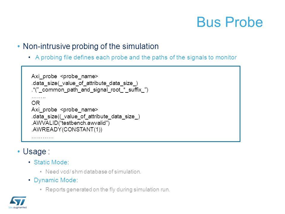 Bus Probe Non-intrusive probing of the simulation Usage :