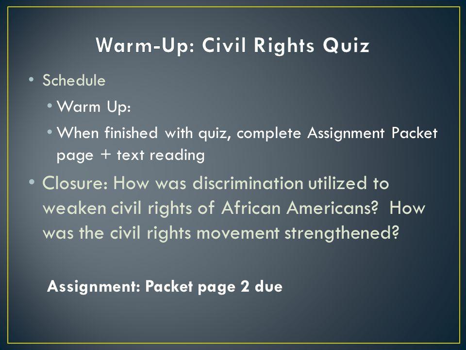 Warm-Up: Civil Rights Quiz
