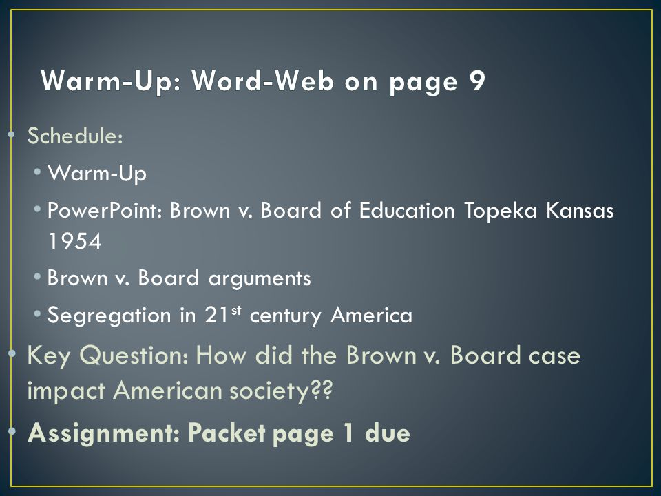 Warm-Up: Word-Web on page 9