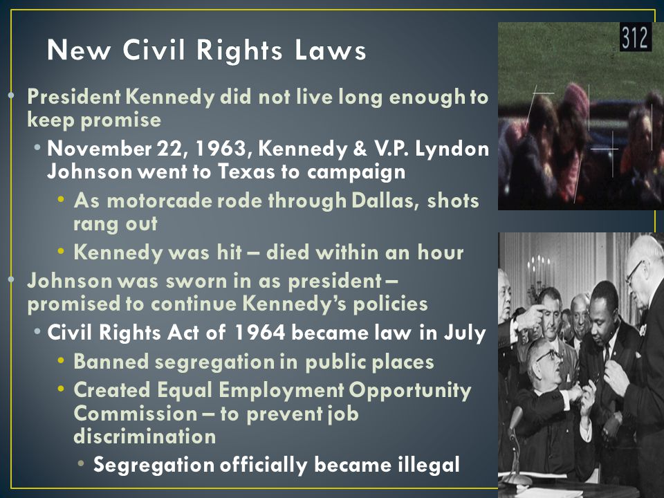 New Civil Rights Laws President Kennedy did not live long enough to keep promise.
