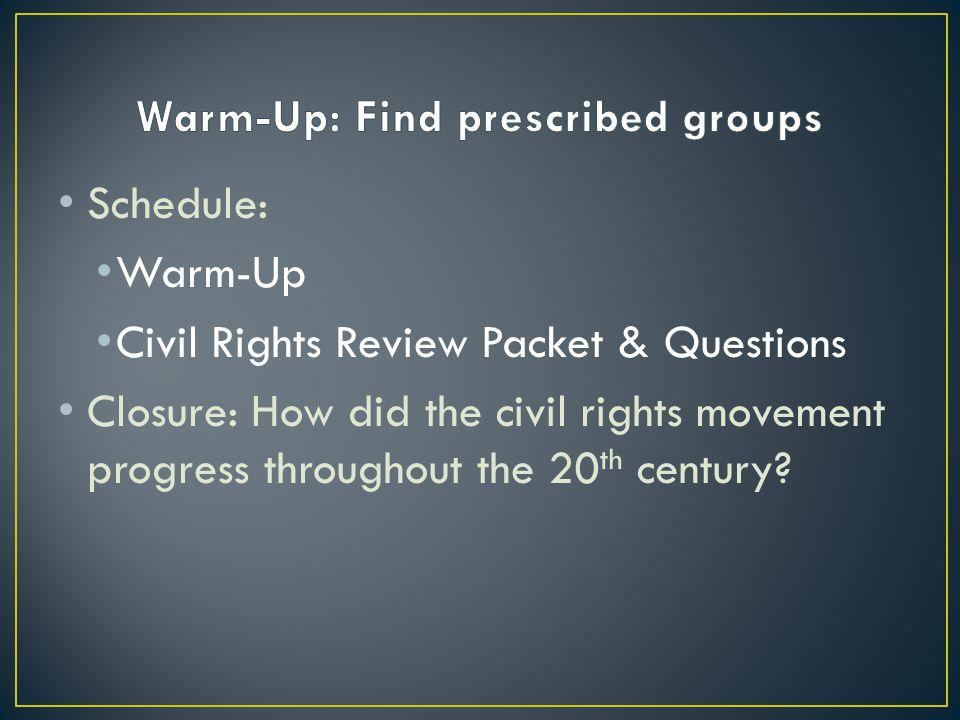Warm-Up: Find prescribed groups