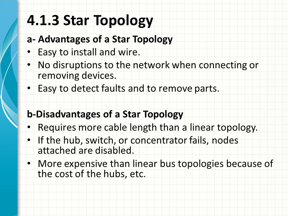 4.1.3 Star Topology a- Advantages of a Star Topology