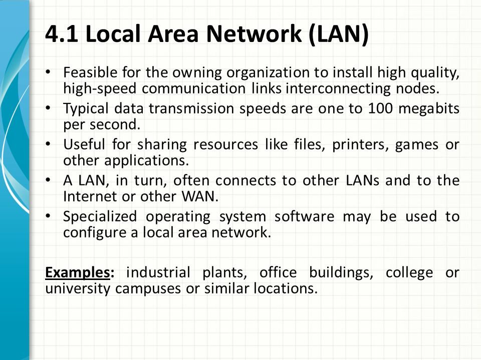 4.1 Local Area Network (LAN)