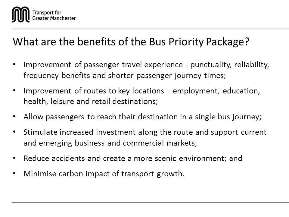 What are the benefits of the Bus Priority Package