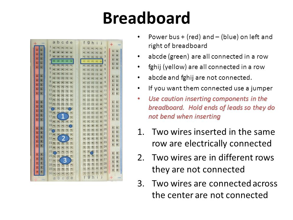 Breadboard Power bus + (red) and – (blue) on left and right of breadboard. abcde (green) are all connected in a row.