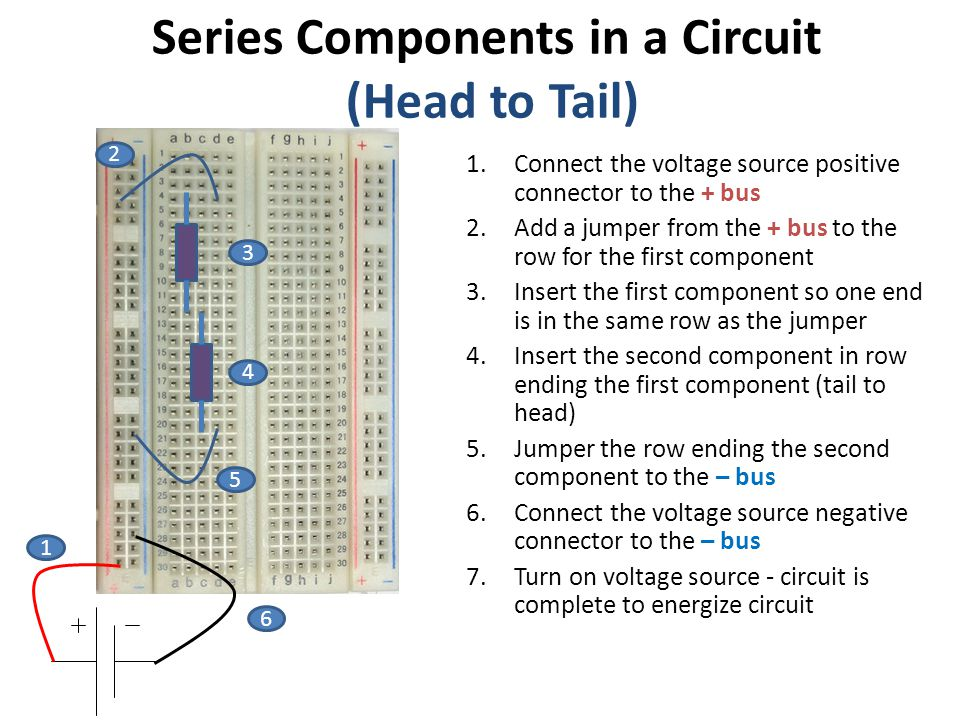 Series Components in a Circuit (Head to Tail)