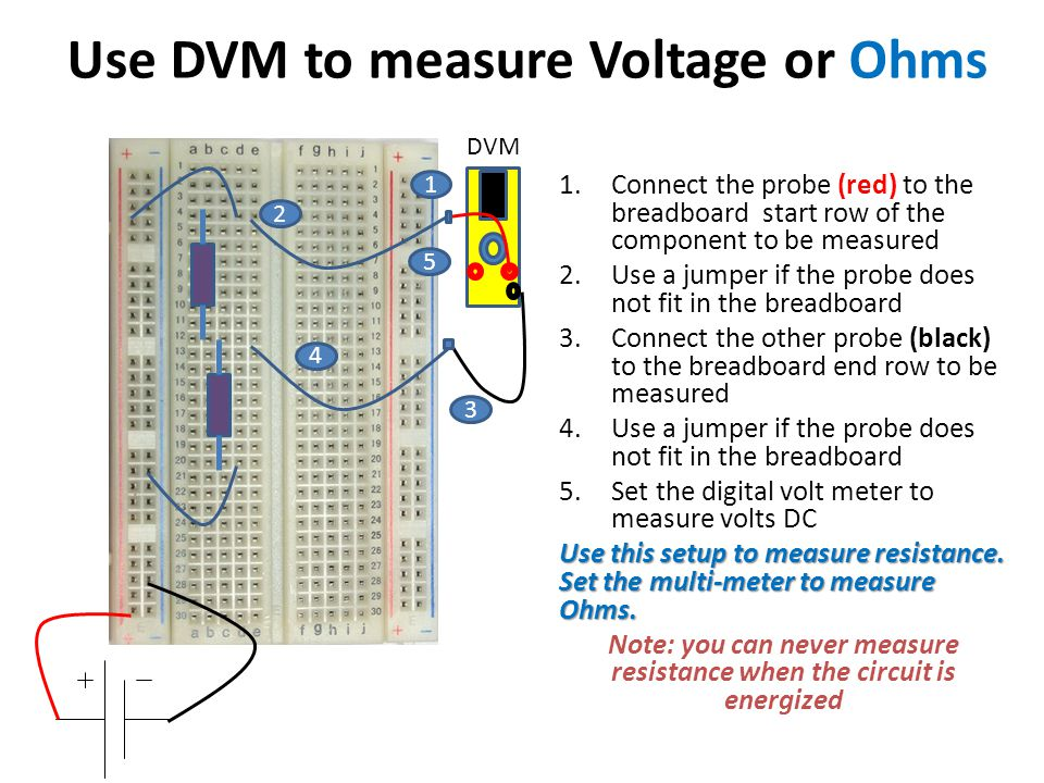 Use DVM to measure Voltage or Ohms
