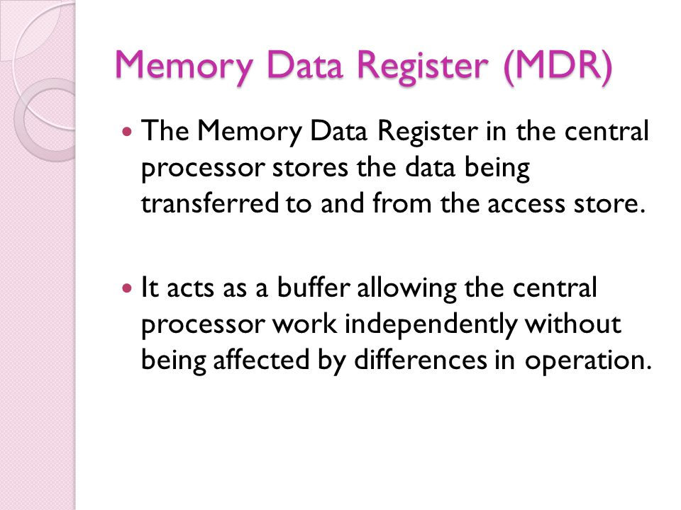 Memory Data Register (MDR)