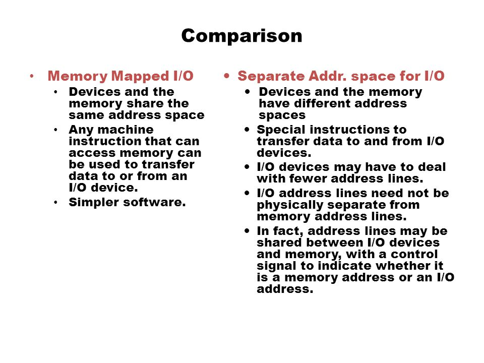 Comparison Memory Mapped I/O Separate Addr. space for I/O