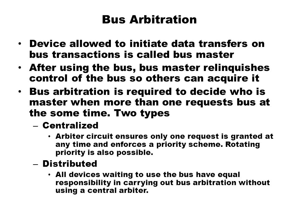 Bus Arbitration Device allowed to initiate data transfers on bus transactions is called bus master.
