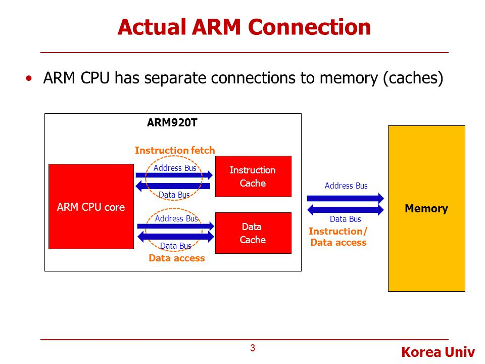 Actual ARM Connection ARM CPU has separate connections to memory (caches) ARM920T. Memory. Instruction fetch.