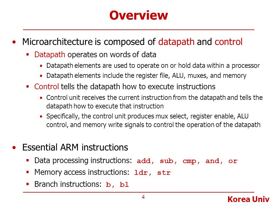 Overview Microarchitecture is composed of datapath and control