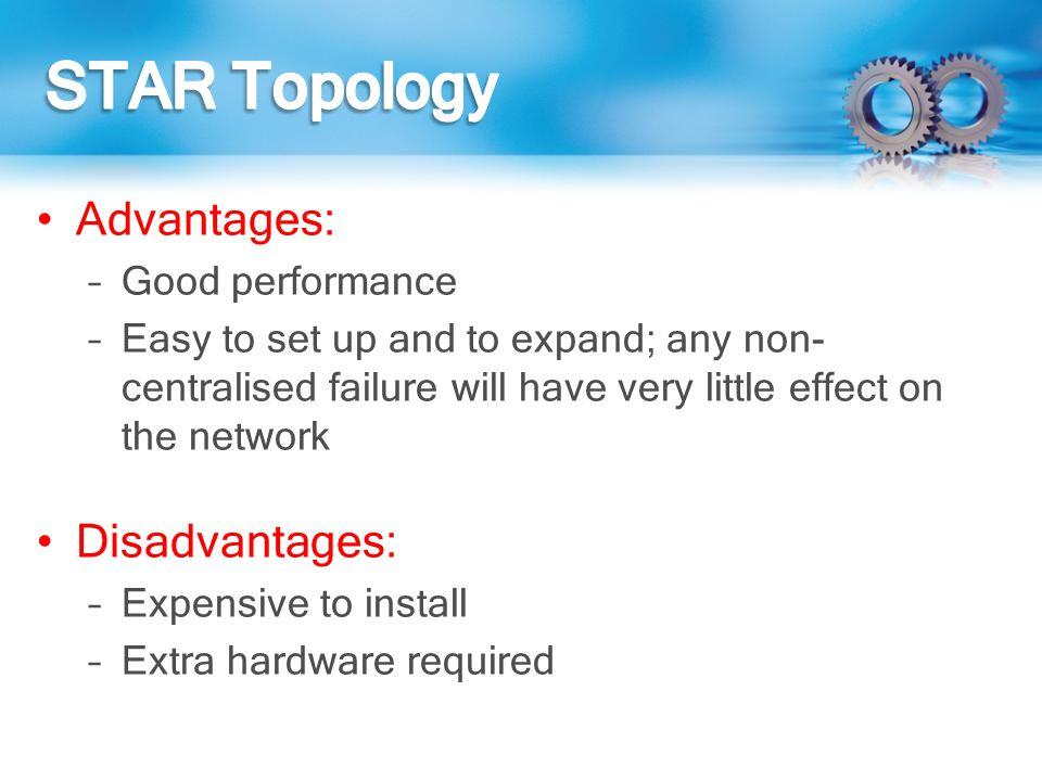 STAR Topology Advantages: Disadvantages: Good performance