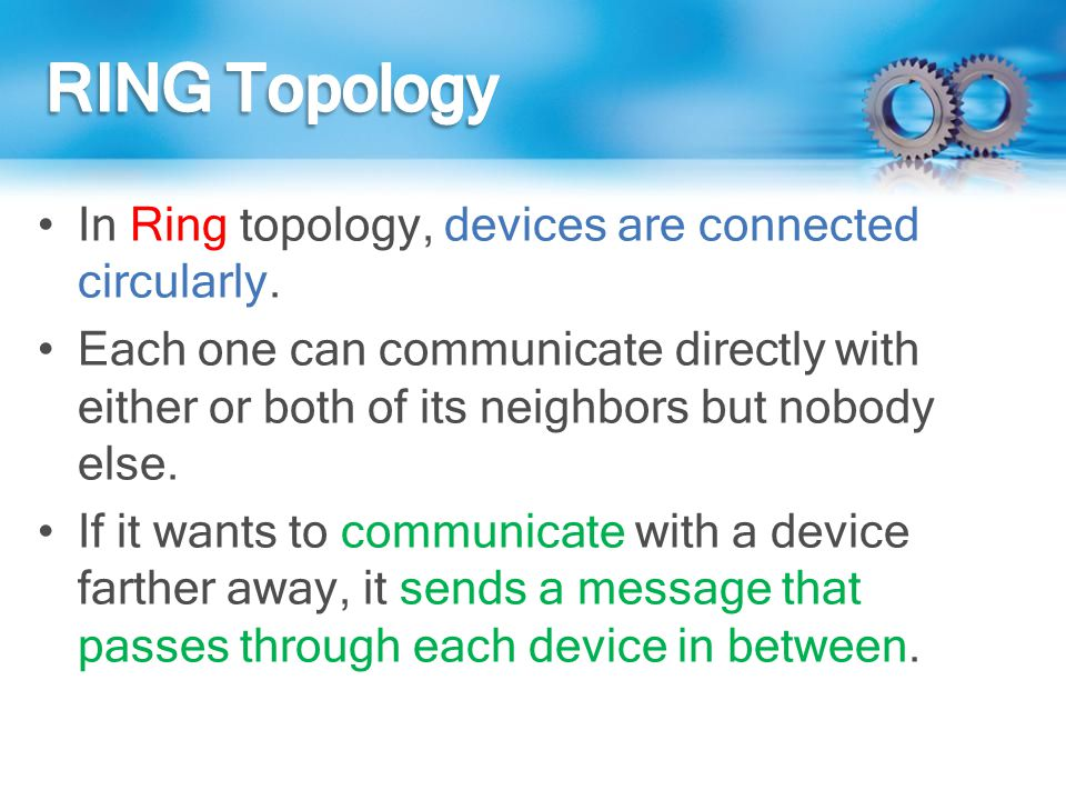 RING Topology In Ring topology, devices are connected circularly.