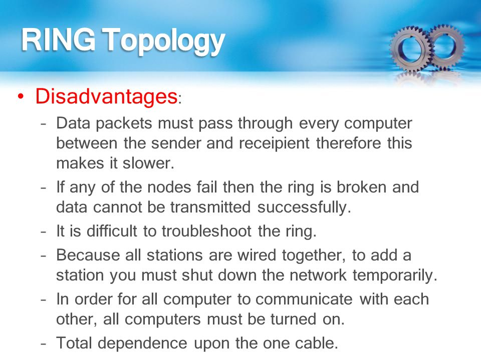 RING Topology Disadvantages: