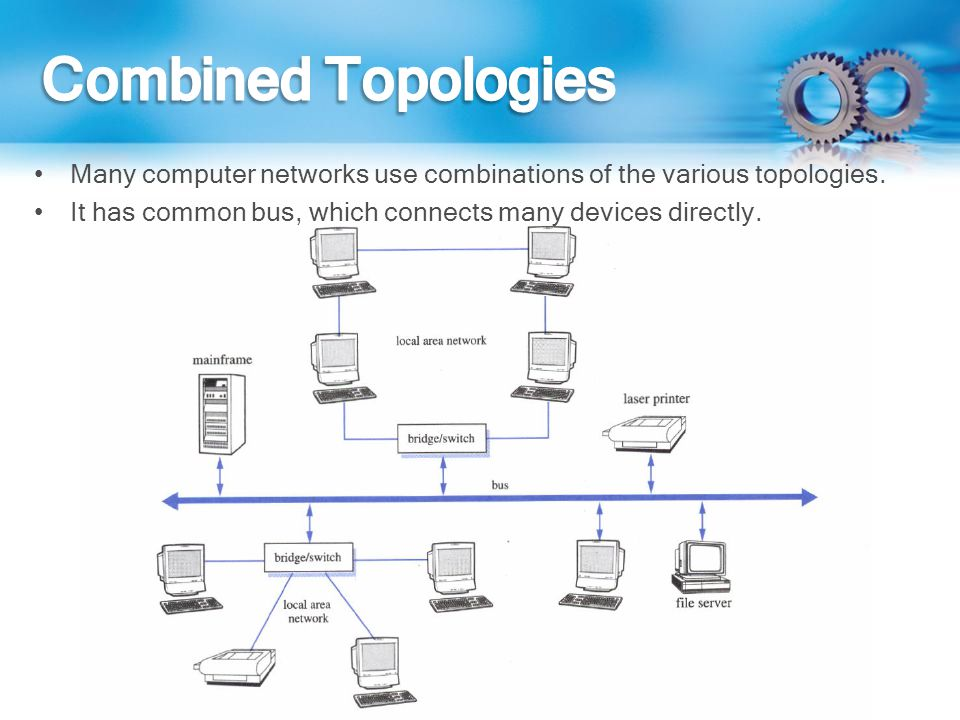 Combined Topologies Many computer networks use combinations of the various topologies.