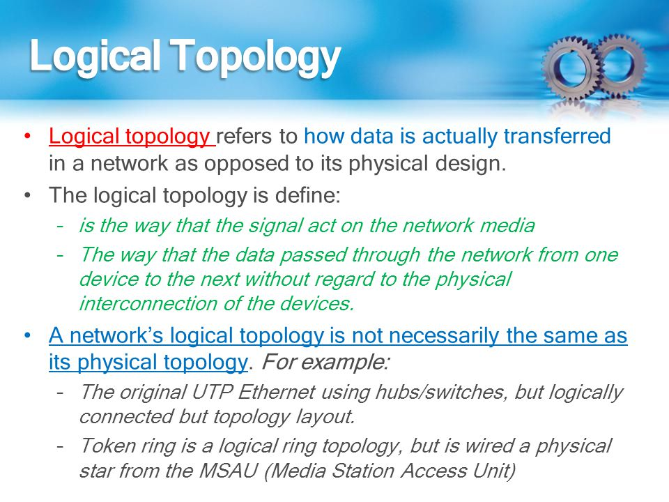 Logical Topology Logical topology refers to how data is actually transferred in a network as opposed to its physical design.