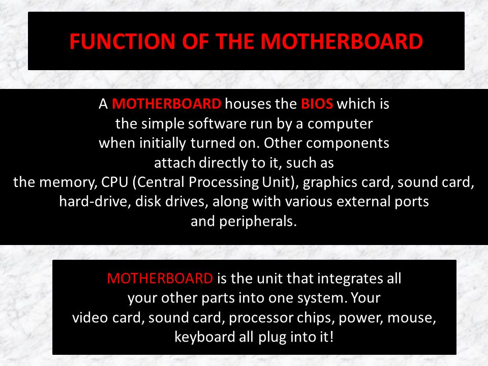 FUNCTION OF THE MOTHERBOARD