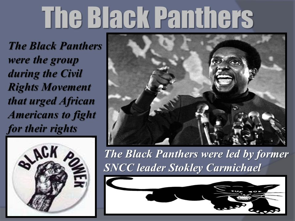 The Black Panthers The Black Panthers were the group during the Civil Rights Movement that urged African Americans to fight for their rights.