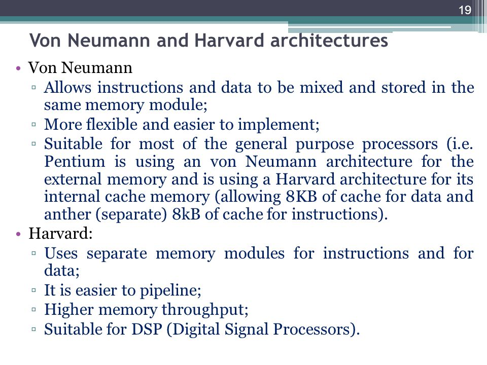 Von Neumann and Harvard architectures