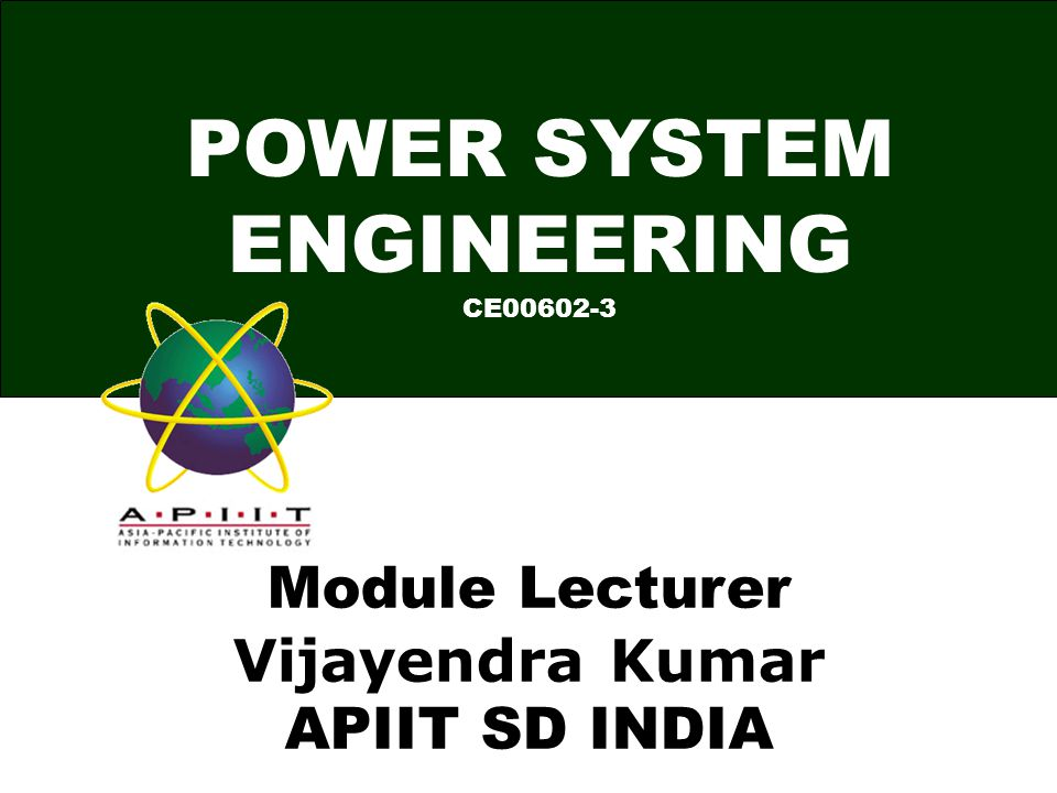 POWER SYSTEM ENGINEERING