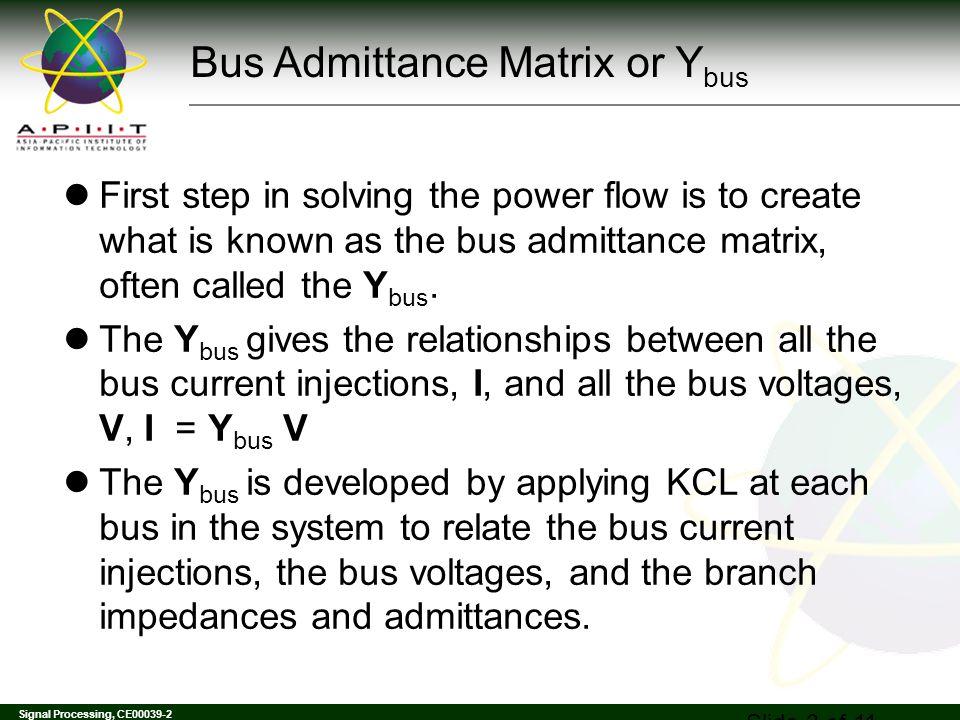 Bus Admittance Matrix or Ybus