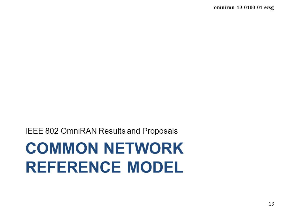 Common Network Reference Model