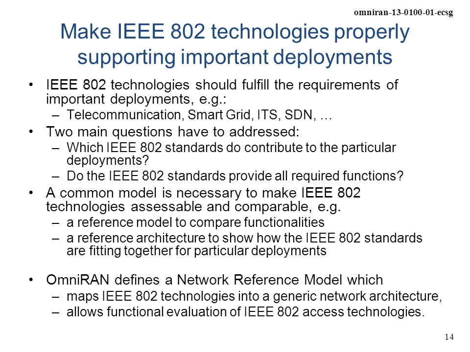 Make IEEE 802 technologies properly supporting important deployments