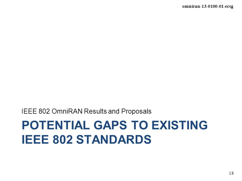 Potential gaps to existing IEEE 802 standards