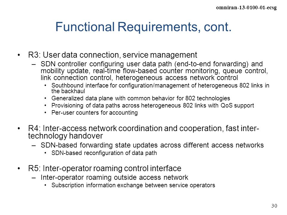 Functional Requirements, cont.