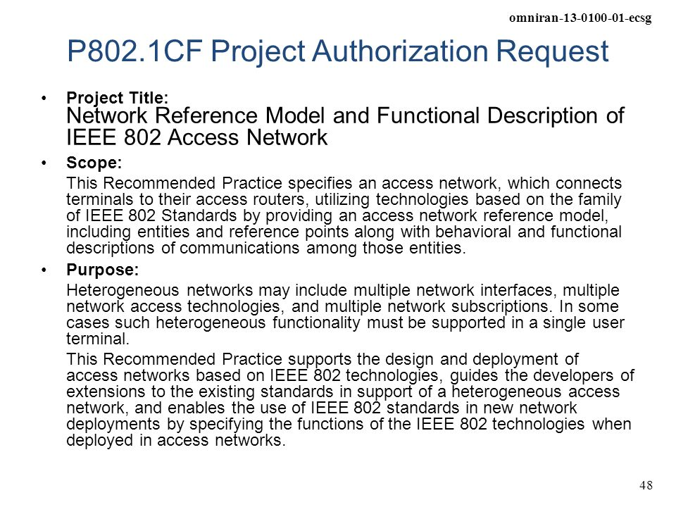 P802.1CF Project Authorization Request