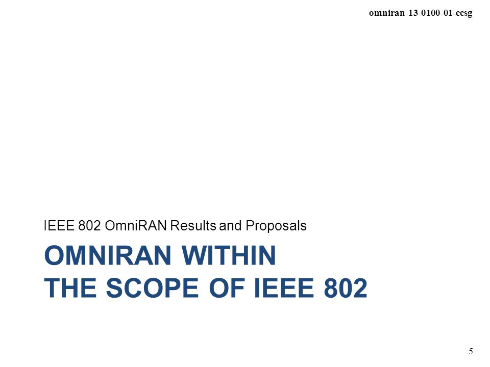 OmniRAN WITHIN The SCOPE of IEEE 802