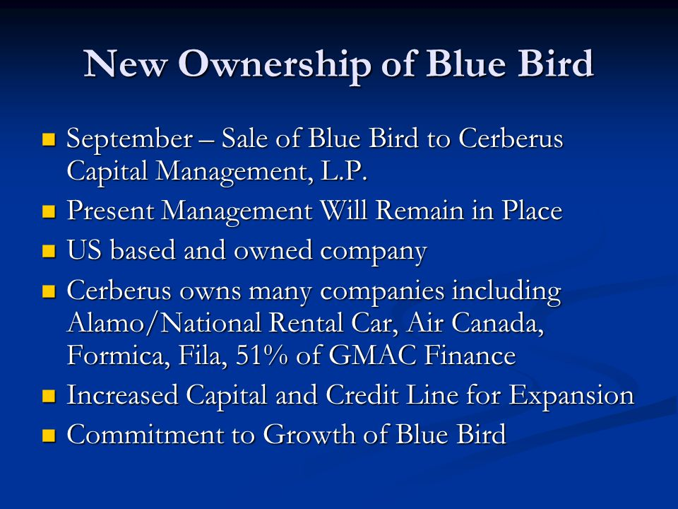 New Ownership of Blue Bird