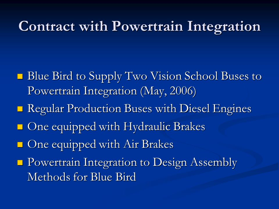 Contract with Powertrain Integration