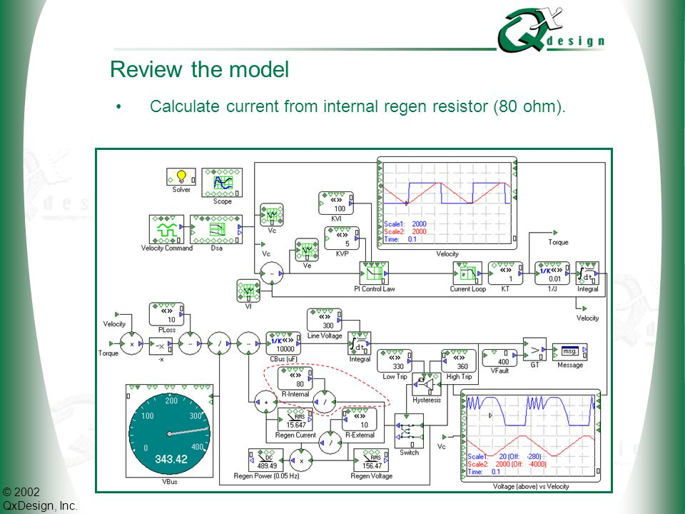 Review the model Calculate current from internal regen resistor (80 ohm).