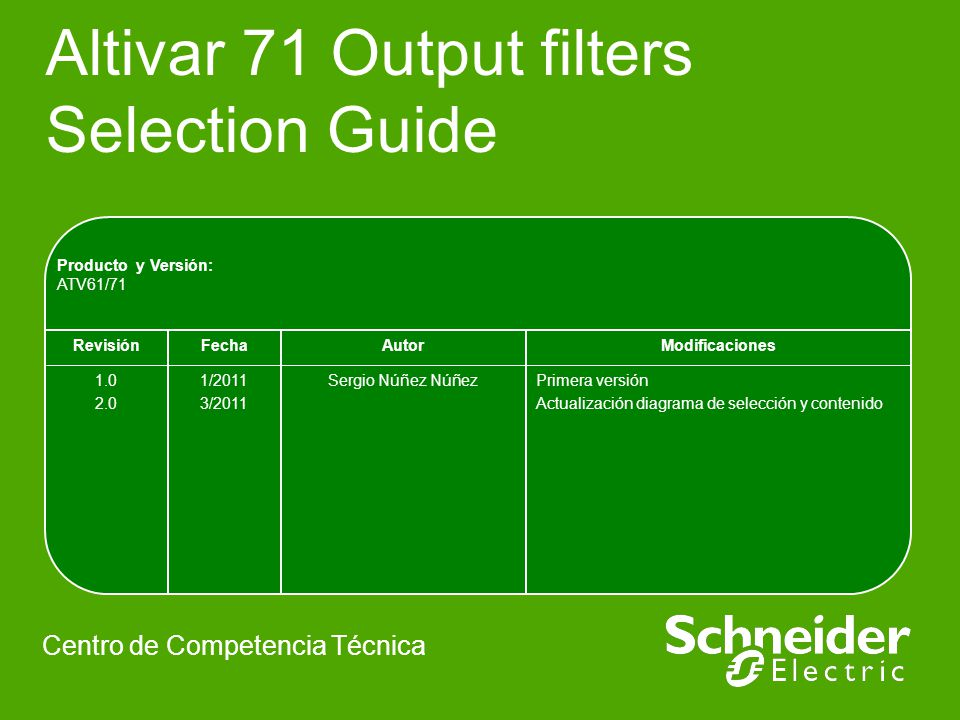 Altivar 71 Output filters Selection Guide