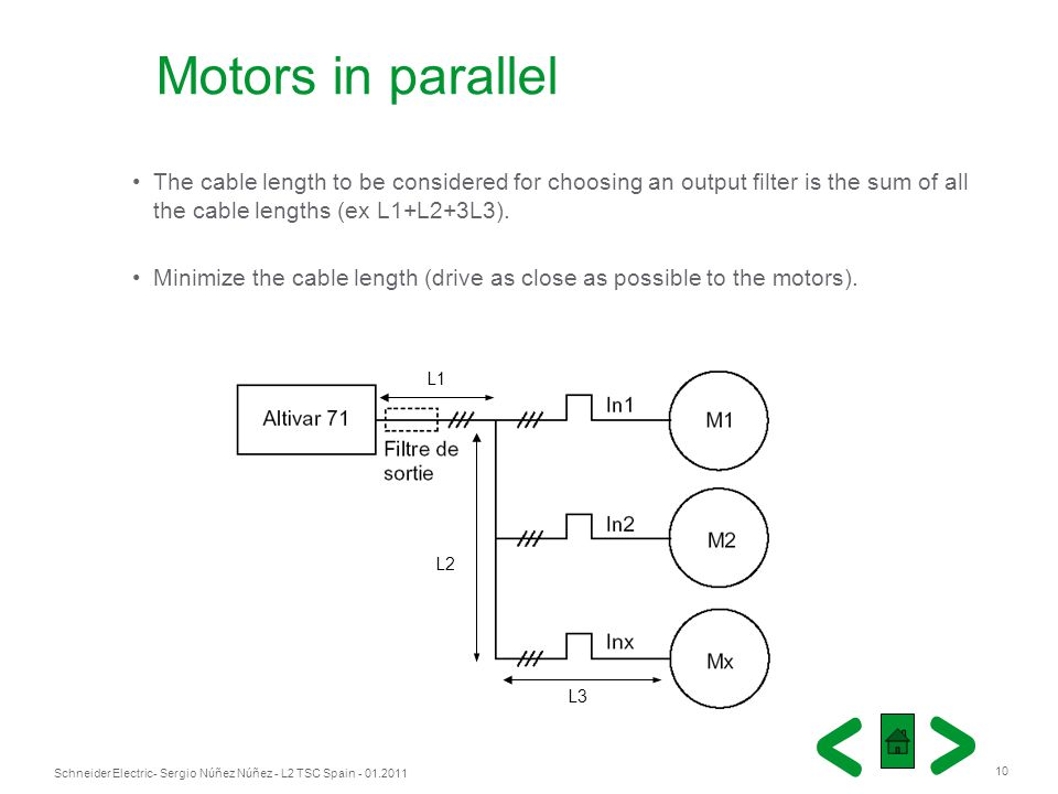 Motors in parallel The cable length to be considered for choosing an output filter is the sum of all the cable lengths (ex L1+L2+3L3).