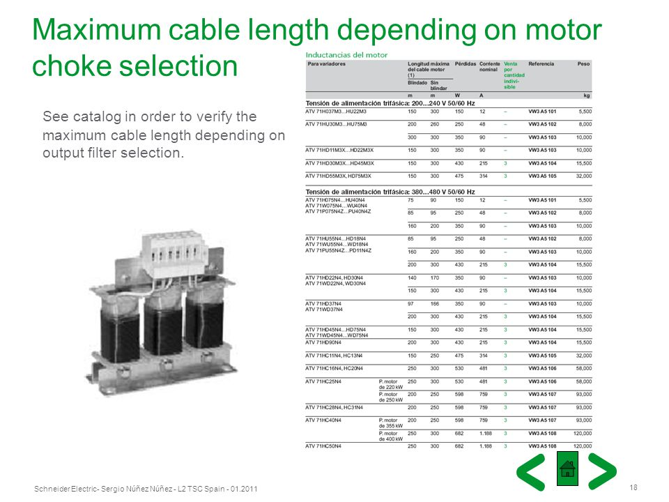 Maximum cable length depending on motor choke selection