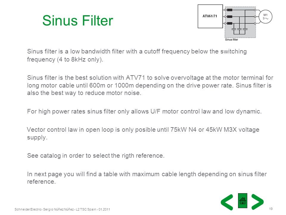 Sinus Filter Sinus filter is a low bandwidth filter with a cutoff frequency below the switching frequency (4 to 8kHz only).